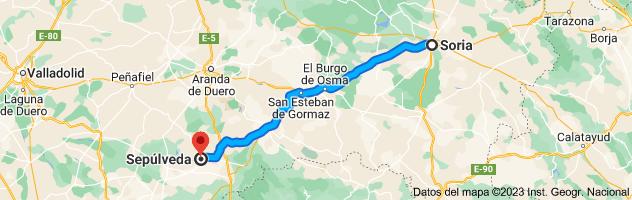 Mapa de Soria a Segovia