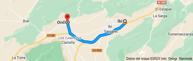 Mapa de Ibi, 03440, Alicante a Onil, 03430, Alicante