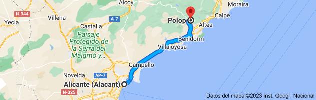 Mapa de Alicante a Polop, 03520, Alicante