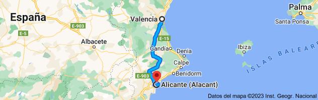 Mapa de Valencia a Alicante