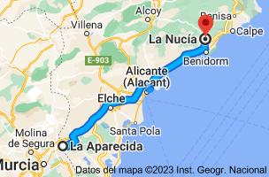 Mapa de La Aparecida, 03311, Alicante a La Nucía, 03530, Alicante