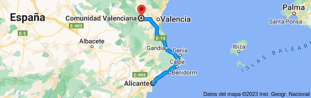 Mapa de Alicante a Comunidad Valenciana