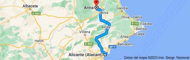 Mapa de Alicante a Anna, 46820, Valencia