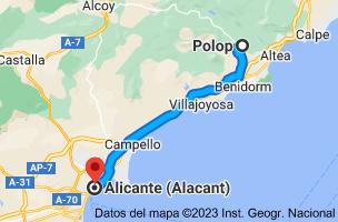 Mapa de Polop, 03520, Alicante a Alicante