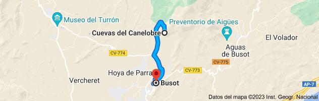 Mapa de Cova del Canelobre, carretera cuevas canelobre, CV-776, 03111 Busot, Alicante a Busot, 03111, Alicante