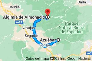 Mapa de Azuébar, 12490, Castellón a Algimia de Almonacid, 12414, Castellón
