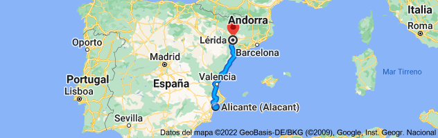 Mapa de Alicante a Lérida