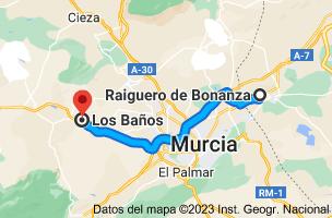 Mapa de Raiguero de Bonanza, 03311, Alicante a Los Baños, 30193, Murcia