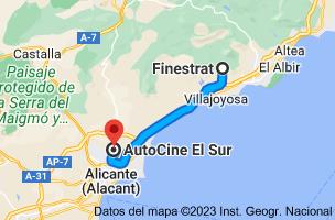 Mapa de Finestrat, 03509, Alicante a AutoCine El Sur, Calle Cerezo, s/n, 03110 Mutxamel, Alicante