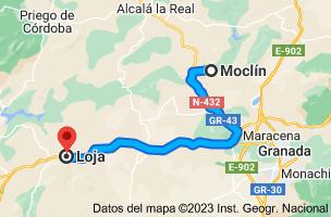 Mapa de Moclín, 18247, Granada a Loja, 18300, Granada
