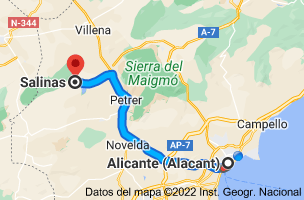 Mapa de Alicante a Salinas, 03638, Alicante