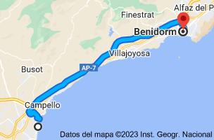 Mapa de Playa Muchavista, 03560 El Campello, Alicante a Benidorm, Alicante