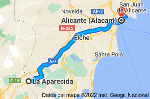 Mapa de La Aparecida, 03311, Alicante a Alicante