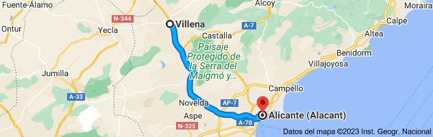 Mapa de Villena, 03400, Alicante a Alicante