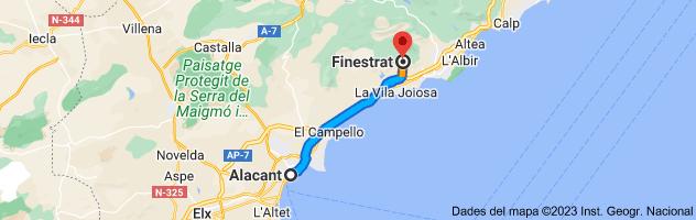 Mapa de Alacant fins a Finestrat, 03509, Alacant