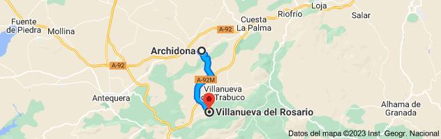 Mapa de Archidona, 29300, Málaga a Villanueva del Rosario, 29312, Málaga