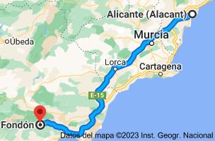Mapa de Alicante a Fondón, 04460, Almería