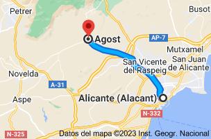 Mapa de Alicante a Agost, 03698, Alicante
