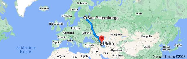 Mapa de San Petersburgo, Rusia a Bakú, Azerbaiyán