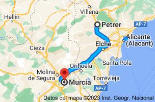 Mapa de Petrer, 03610, Alicante a Murcia