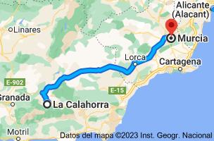 Mapa de La Calahorra, Granada a Murcia