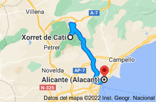 Mapa de Xorret del Catí, CV-817, s/n, 03420 Castalla, Alicante a Alicante