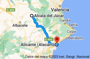Mapa de Alcalá del Júcar, 02210, Albacete a Alicante