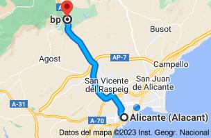 Mapa de Alicante a Estacion de servicio Bp-Xirau, Autovia A-7, Km 482, 03109 Tibi, Alicante