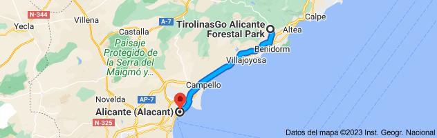 Mapa de Forestal Park Benidorm La Nucía, Carrer de Guadalest, 10, 03530 La Nucia, Alicante a Alicante