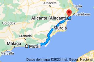 Mapa de Motril, 18600, Granada a Alicante