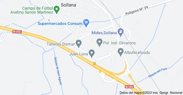 Mapa de Pol. Ind. Olivarons, 46430, Valencia