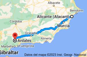 Mapa de Alicante a Ardales, 29550, Málaga