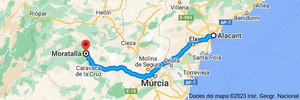Mapa de Alacant fins a Moratalla, 30440, Murcia