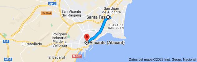 Mapa de Santa Faz, Alicante a Alicante
