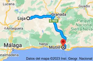 Mapa de Loja, 18300, Granada a Motril, 18600, Granada