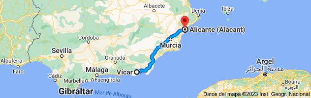 Mapa de Vícar, 04738, Almería a Alicante
