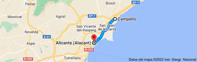 Mapa de Campello, Alicante a Alicante