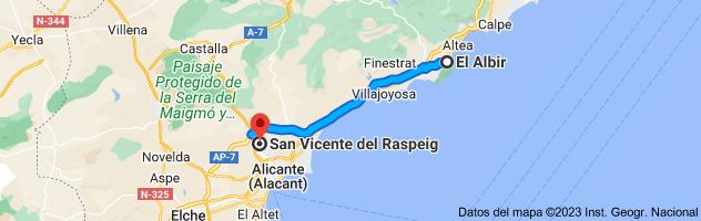Mapa de El Albir, 03581, Alicante a San Vicente del Raspeig, Alicante