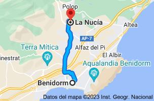 Mapa de Benidorm, Alicante a La Nucía, 03530, Alicante